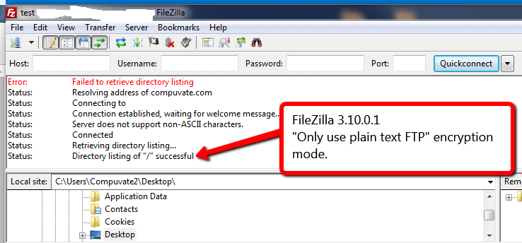 filezilla failed to retrieve directory listing